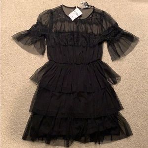 Black lace ruffle dress NWT